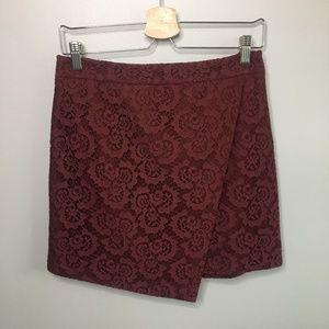 Madewell Lace Asymmetrical Maroon Mini Skirt #335